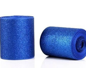 """3 inch  Blue Glitter Super Sparkle Grosgrain Ribbon for 3 inch Cheer Hair Bow - Back of Ribbon is Blue Grosgrain 3""""  3 inch Cheer Hair Bow"""