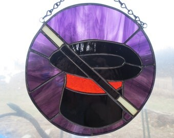 Magic Magician Hat and Wand Stained Glass Suncatcher