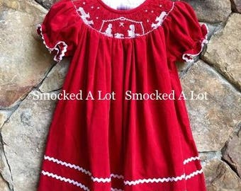 Hand Smocked girls bishop dress Christmas red nativity scene corduroy