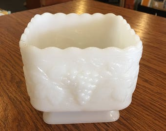 Square milk Glass Planter GrapePattern