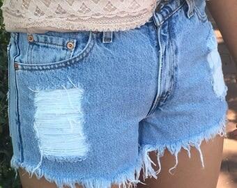 Levi's vintage high-waisted blue denim shorts