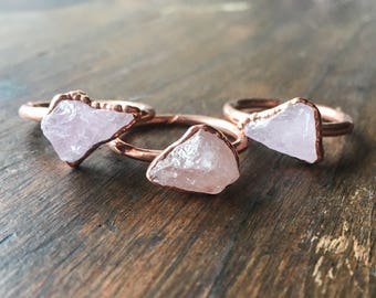 Morganite Ring | Raw Morganite Ring | Raw Stone Ring | Morganite Ring | Electroformed Jewelry | Crystal Ring | Pink Stone Ring |