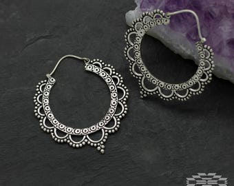 Lotus hoops earrings,  tribal earrings, gypsy earrings, indian earrings, silver jewelry, silver hoops