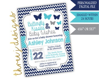 Butterfly Baby Shower Invitation - Navy Blue, Teal, and Gray - Digital File - J007
