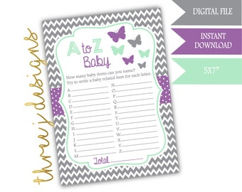 Butterfly Baby Shower A to Z Baby Game - INSTANT DOWNLOAD - Gray, Lavender, and Mint - Digital File - J005