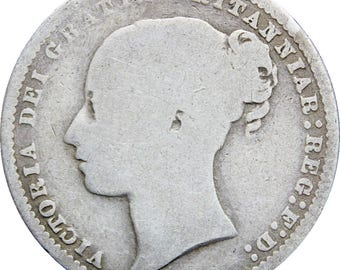 1875 Shilling Queen Victoria Great Britain Silver Coin