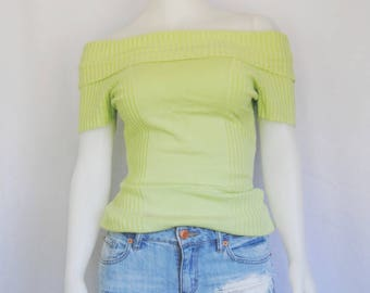 90s off shoulder top, vintage ribbed t-shirt -- lime green, off the shoulders, knit t-shirt, textured, sweater, 1990s 90s clothing