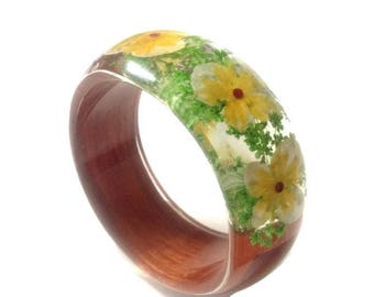 Real Flowers Bangle, Pressed Flowers, Real Flowers,Floral Bracelet,Wood Bracelet, Flower Bangle Bracelet, Flower Jewelry