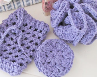 Lavender Spa Set, Crochet Bath Gift, Crochet Bath Pouf, Soap Saver Bag, Facial Scrubbies, Make Up Remover, Washcloth, Handmade Bath Gift