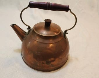 Vintage Kitchen Copper Wood Handle  Tea Kettle Kitchen Decor Cookware Tea Time
