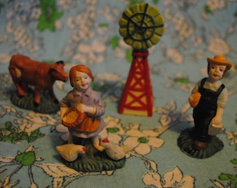 Set of 6 ceramic farm figures