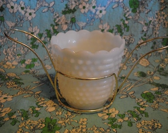 White milk glass hobnail design champagne ice bucket server by FireKing oven ware