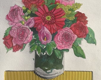 Still Life with Pink Roses