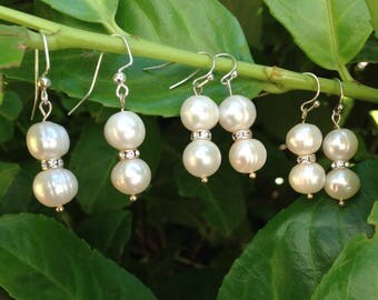 Bridesmaids Set of 3 White Fresh Water Pearl and Crystal  Earnings. Gift pack