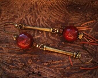 Boho earrings, gypsy earrings, long earrings, boho chic, bohemian earrings, stone earrings, wood earrings, tiger's eye stones - Solar Magic
