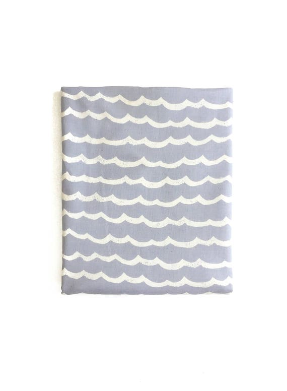 Changing Pad Cover - KUJIRA Waves in Fog - MADE-to-ORDER - blue ocean changing pad, travel changing pad, travel theme nursery, chambray