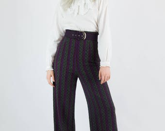 Vintage 70's High Waisted Winter Weight Patterned Wide Leg Trousers