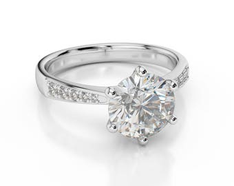 0.85 CT Real Round Cut Diamond Engagement Ring 14K White Gold F/SI1