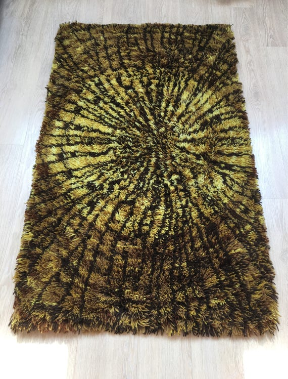 Vintage Swedish shagpile rug or ryamatta pure wool sunburst abstract design circa 1960's