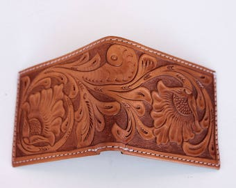 100% Leather Wallet, Hand Tooled, Customizable!