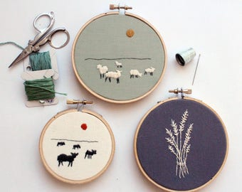 Land Set Contemporary Embroidery Hoop Art, Various Sizes