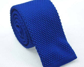 Royal Blue Knit Necktie Mens Knitted Tie Skinny Tie Wedding Necktie Gift for Men Skinny Knitted Tie Knit