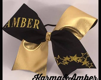 Black & Gold PERSONALIZED Cheer Bow CHOOSE A NAME