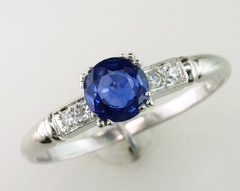 Vintage Antique Art Deco 1.00ct Sapphire & Diamond 14K Engagement Ring