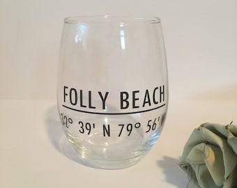 Folly Beach coordinates wine glass