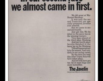 "Vintage Print Ad 1960s : American Motors Javelin Automobile Car Wall Art Decor 8.5"" x 11"" each Advertisement"