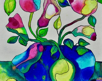 Small Floral Painting, Flower Paintings, Ink and Acrylic Painting, Original Artwork