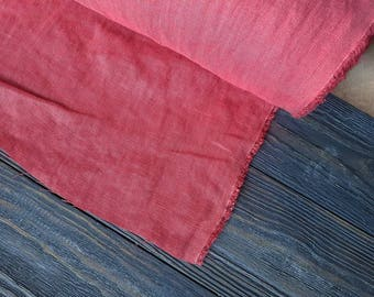 Softened coral linen fabric by the meter, natural linen coral color fabric, stonewashed linen fabric by the yard 7oz 200GSM for bedding
