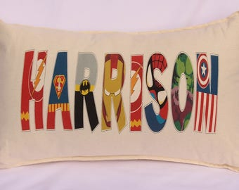 Personalised Pillow with name written in superhero letters