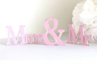 mr & mme  en bois rose patiné _ décoration de mariage _ cadeau de mariage _ mylittledecor