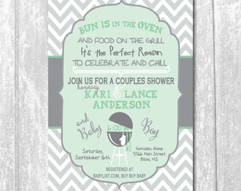 Couples Baby Shower Invitation Baby Q printable/Digital File/bun in oven, chill and grill, coed shower, girl, boy, /Wording can be changed