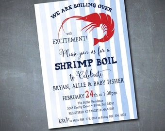 Shrimp Boil Invitation printable/Digital File/Couples Baby shower, seafood boil, boiling over, baby boy shower/Wording can be changed