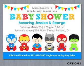 Superhero Baby Shower Invitation, super hero baby shower invitation, super baby invite, superhero baby shower, baby superheroes
