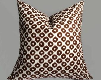 Brown pillow cover, brown white throw pillow, Decorative Pillow cover, Pillow cases, pillow, couch pillow, handmade pillow