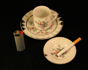 Vintage Ashtrays and Cup Mug Mid Century Porcelain Bird Gold Trim Set Matching Pieces Cigarette Tobacco Smoker Tea Espresso Coffee Gift