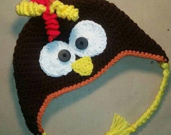 Child Turkey Hat, Thanksgiving, Gobble, Holiday, Crochet Turkey Hat, Knit Turkey Hat, Photo Prop, Turkey
