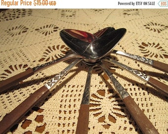 Ekco Eterna Stainless Teaspoon Set Vintage 1960's Flatware Rosewood Handles Canoe Muffin Silverware Replacement - SW0245