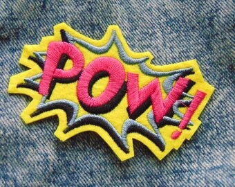 POW! Sew / Iron on Embroidery Patch Comic Book Explosion Word Badge for Jackets & Clothing Pink Yellow Blue Fun Design Pop Art Theme UK