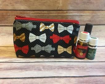 Bowtie oil bag, man bag, essential oil bag, oil bag, essential oil case, essential oil storage, essential oil holder, travel bag, zipper bag