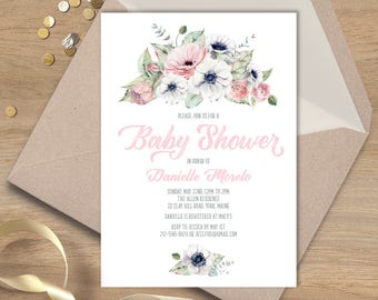 Boho Baby Shower Invitation / Blush, White and Greenery, Anemone, Pink Peony Rose / Blush and Gray ▷ Printable File {or} Printed & Shipped