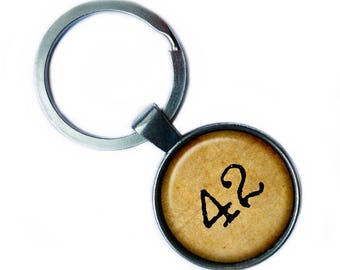 "Hitchhiker's Guide to the Galaxy ""42"" Keychain Keyring"