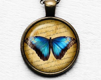 Blue Butterfly Pendant & Necklace