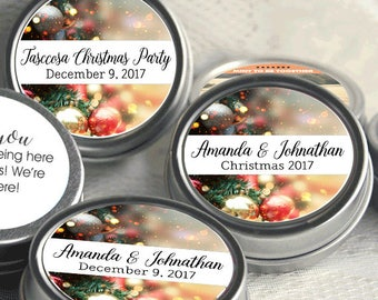 Personalized Christmas Mint Tins, Corporate Christmas Favors, Wedding Favors, Mint Favor Tins, Christmas Ornaments - Set of 12, Party Ideas