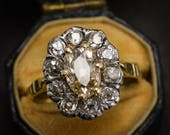 Antique Georgian 2.5ct Old Cut Diamond Cluster Ring in 15k Gold  Silver c1830