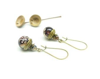 ¤ ~ Iris chips ~ ¤ Bohemian earrings, stone and shell