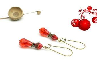 Christmas earrings red beads. Red stud earrings.